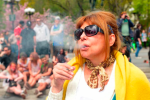 This woman—and many others—got a free (puff, puff) pass in NYC on Saturday. Photo via