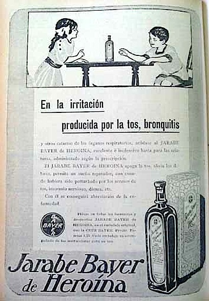 A 1912 Spanish ad for children's heroin by Bayer Photo via
