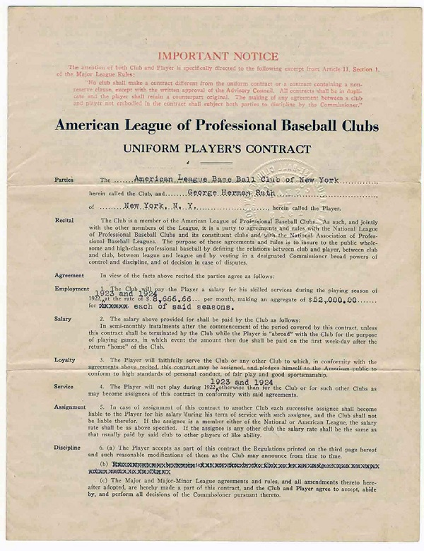 A Look at Babe Ruth's First Yankees Contract:
