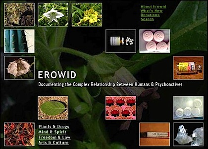 Erowid homepage Photo via