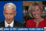 Anderson Cooper teases a giggling Randi Kaye, who appears to be stoned. Photo via