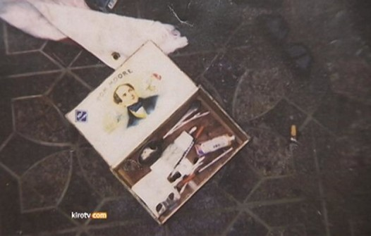 A photo newly released by Seattle police showing drug paraphernalia at Cobain's death scene Photo via