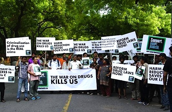 Supporters in New Delhi, India during last year's global day of action. Photo via